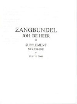 Supplement Zangbundel Joh. de Heer